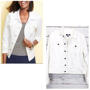 TALBOTS white denim jacket